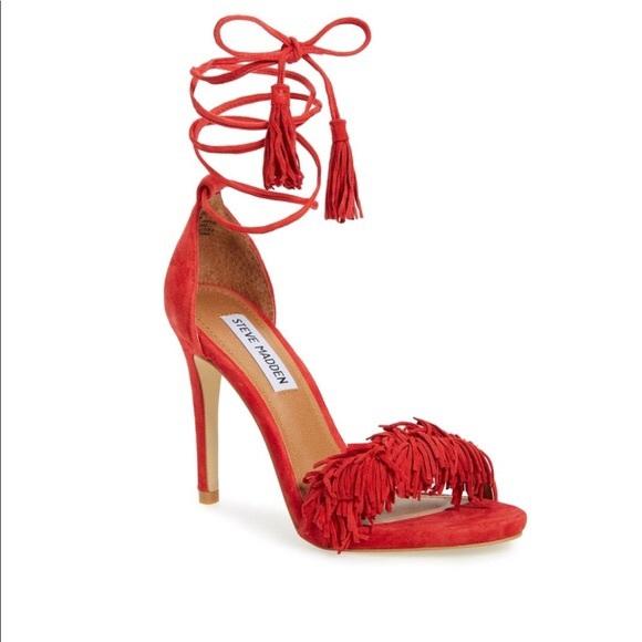 9ab4817e18d Steve Madden Red Fridge Strappy Heels Size 5.5